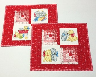 Quilted Placemats, Fabric Placemats Quilted Place Mats, Puppy Kitty Placemats,  Retro Vintage Style, Puppies, Kitties, Red and White