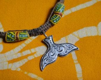 Hawaiian Tribal Whale Tail African Rasta Bead Hemp Necklace