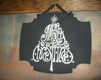 Hand painted Merry Christmas tree plaque