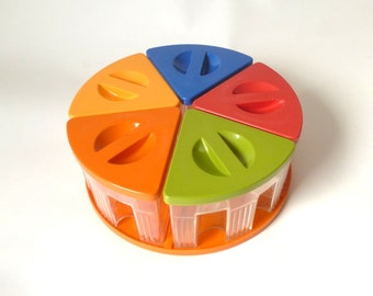 Vintage Italian Plastic Storage by Cosmoplast ... Rainbow Colors, Lazy Susan, Carousel Food Containers, MCM Kitchenware, Food Storage