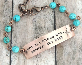 Not All Those Who Wander Are Lost Beaded Bracelet - Travel Inspired Jewelry - Compass - Turquoise Blue Beaded Bracelet - Tolkien Quote