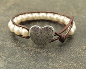 Pearl Valentine's Jewelry Silver Bronze Off White Heart Bracelet Neutral Shabby Boho Chic Heart Jewelry