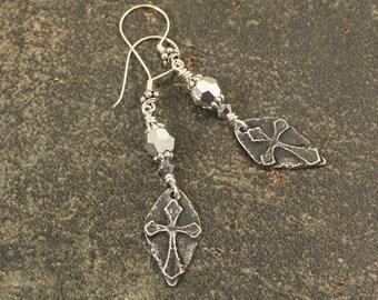 Silver Cross Earrings Rustic Glam Cross Jewelry Unique Neutral Silver Dangle Earrings