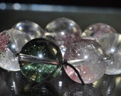 7 Pieces 13mm -Natural CHLORITE In QUARTZ Phantom Crystal Round Beads - A0951