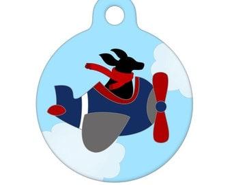 Pet ID Tag - Black Dog Flying Around Pet Tag, Cat Tag, Bag Tag, Child ID Tag