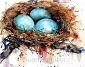 BIRD NEST Watercolor Art Print by Dean Crouser