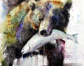BROWN BEAR & SALMON Watercolor Print by Dean Crouser