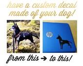 Custom Hand drawn Dog Silhouette Decal, Personalized Pet Decal, Custom Dog Decal, Personalized Dog Sticker, Personalized Dog Portrait