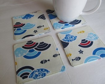 Set Of 4 Fabric Coasters/Mountain And Fish
