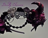 REZERVED for WiccanWitch420    Dark Mori Gothic Lolita fantasy succubus horns flower crown  hairband headpiece costume hair accessory