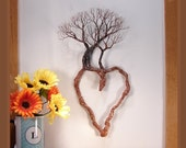 """Wire Tree Of Life sculpture, Valentines Day, metal Heart wall art, Family Trio sculpture, handmade unique tree art, crowsfeathers art, 16"""""""