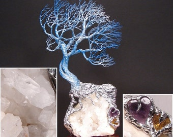 """Wire Tree Of Life sculpture, Soul Mate Wind Spirits, natural Quartz Crystal cluster, Amethyst Heart, Citrine Heart, unique Wedding gift, 11"""""""
