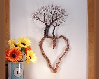 Wire Tree Of Life, metal heart wall art, Family Trio sculpture, unique wall decor, unique home accent, office decor, crowsfeathers art, 16""