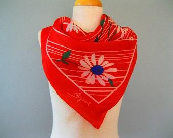 Vintage 60s Schiaparelli Scarf -1960s Headscarf -  Mod -  Red White Blue - 60s Schiaparelli - Large Square Scarf - Designer Scarf