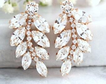 Bridal earrings, Bridal Swarovski earrings,Bridal Cluster Studs, Swarovski Bridal earrings, Bohemian Earrings, Gift for her, Estate Earrings