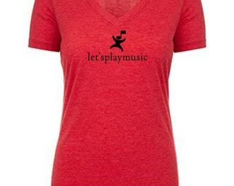 6044 Vneck letsplaymusic teacher shirt cotton