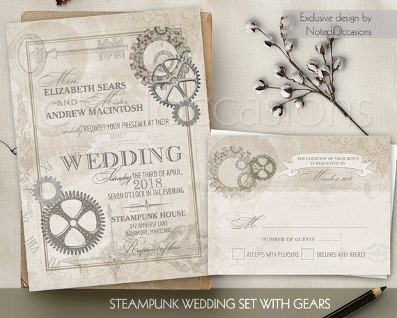Steampunk Vintage Wedding Invitation