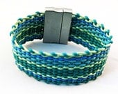 Leather woven bracelet blue green