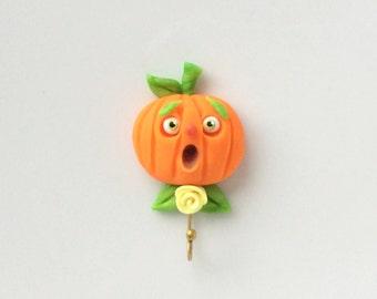 Halloween miniature dollhouse pumpkin kitchen hook handmade from polymer clay