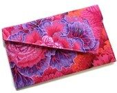 Envelope Fold Over Clutch Purse Wedding Clutch Bridesmaid Gift - Purple Pink Orange Flowers