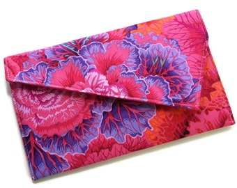 Envelope Fold Over Clutch Purse Wedding Clutch Bridesmaid Gift - Purple Pink Orange Flowers