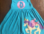 Girl's Dress wtth Unicorn, Toddler Dress or Girls Dress- Unicorn Applique - You Choose Dress Color and Sleeve Length