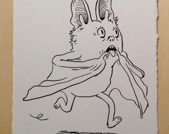 Original Ink Drawing - A Bat