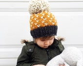 Oversized Pom Pom Hat / Baby Toddler Child Large Pom Beanie / Tiny Hearts Pom Hat
