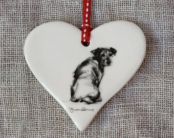 Valentine's Looking Back terrier dog Heart