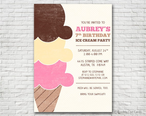 Canny image with ice cream party invitations printable free