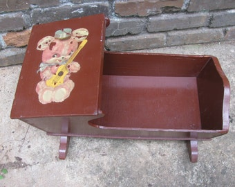 Vintage Hooded Doll Cradle with Bear Decal