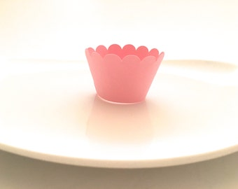12 Light Pink Scalloped MINI Cupcake Wrappers