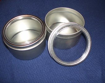 24 8oz Seamless Round Tins with Clear Window Lids (set of 24)