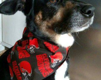 Browns dog bandana, NFL dog bandana, fits over the dog collar. Cleveland, dawg pound dog bandana