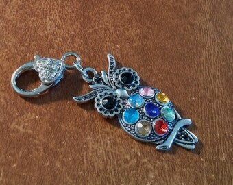Large Owl Key Chain Key Ring Add On Colorful Rhinestones 3 Inches Long Handmade Add on Dangle Charms