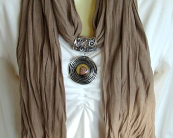 Fused glass and silver metal scarf slide with matching scarf