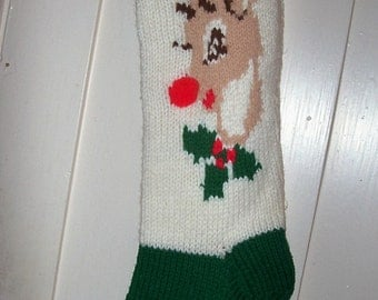 Hand Knit Rudolph Red Nosed Reindeer Christmas Stocking  Personalized