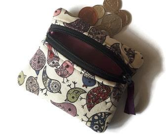 Bird change purse, zipper coin pouch