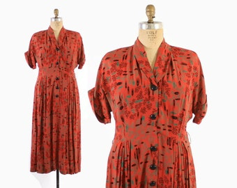 Vintage 40s NOVELTY Print DRESS / 1940s Atomic Feather Print Red Rayon Plus Size Dress L - XL