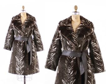 Vintage 60s FAUX Fur COAT / 1960s Belted Velvety Plush Zebra Striped Trench M