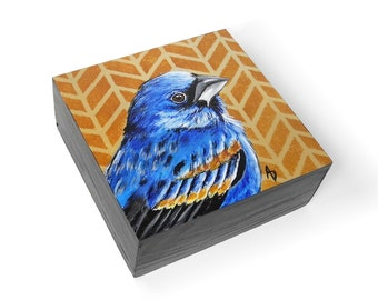 Blue Grosbeak, blue songbird art block painting