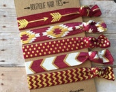Boutique Hair ties FSU garnet and gold 5 pack - awesome gift stocking stuffer