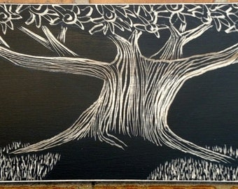 Tree Etching on Reclaimed Wood