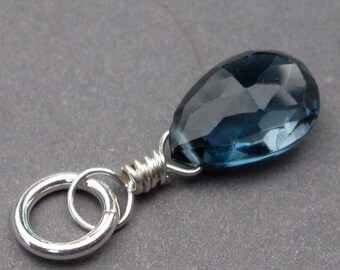 London Blue Topaz Pendant, Sterling Silver Wire Wrapped Pendant, Necklace Pendant, London Blue Topaz Charm, Birthstone Charm,  Stones 83