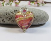 Murano Venetian Glass Heart Pendant, Geniune Murano 24KT Goldfoil Pink Peachy Heart Pendant with Swarovski Elements & 925 Sterling Silver