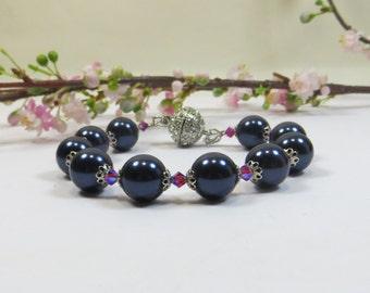 Dark Midnight Blue Swarovski Pearls Bracelet, Large 12mm Pearls Bracelet, Arthritis Friendly Magnetic Clasp 12mm Swarovski Pearls Bracelet