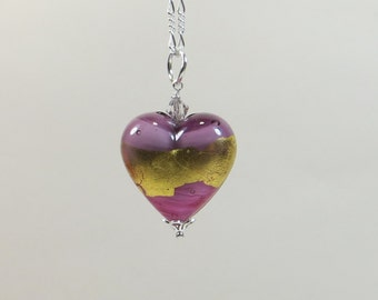 Violet Gold Rose Murano Glass Necklace, Venetian Murano 24kt Goldfoil Amethyst Pink Gold Heart Pendant Necklace w 925 Silver Chain Necklace