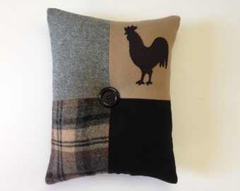 Black Rooster Folk Art Primitive Wool Pillow
