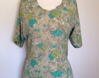 Vintage silk floral tunic dress, green floral print, olive teal turquoise, Indian side slits, ethnic silk top, bohemian gypsy, size Large 42
