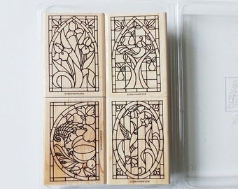 Set of 4 Stained Glass Rubber Stamps 1998 Stampin' Up Retired
